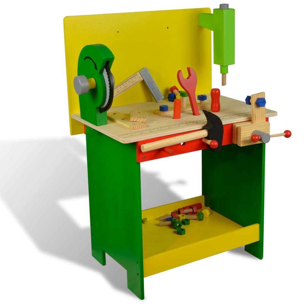 Kids Children Wooden Workbench With Tools 33 Pcs