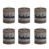 Bolsius Rustic Pillar Candle 80 x 68 mm Light Brown 6 pcs