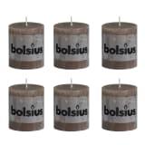 Lot de 6 bougies 80 x 68 mm brun clair Bolsius