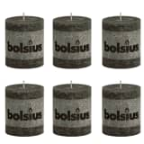 Bolsius Rustic Pillar Candle 80 x 68 mm Smoky Grey 6 pcs