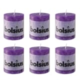 Bolsius Rustic Pillar Candle 80 x 68 mm Violet 6 pcs