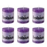 Bolsius Lot de 6 bougies Pilier rustique 80 x 68 mm violet