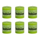 Bolsius Rustic Pillar Candle 80 x 68 mm Lime Colour 6 pcs