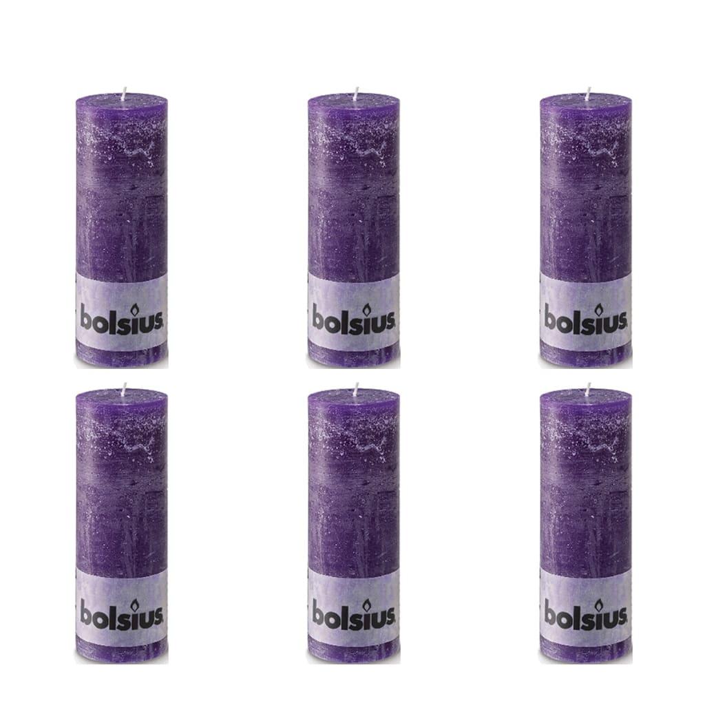 Bolsius Rustieke Stompkaarsen 190 x 68 mm 6 stuks violet