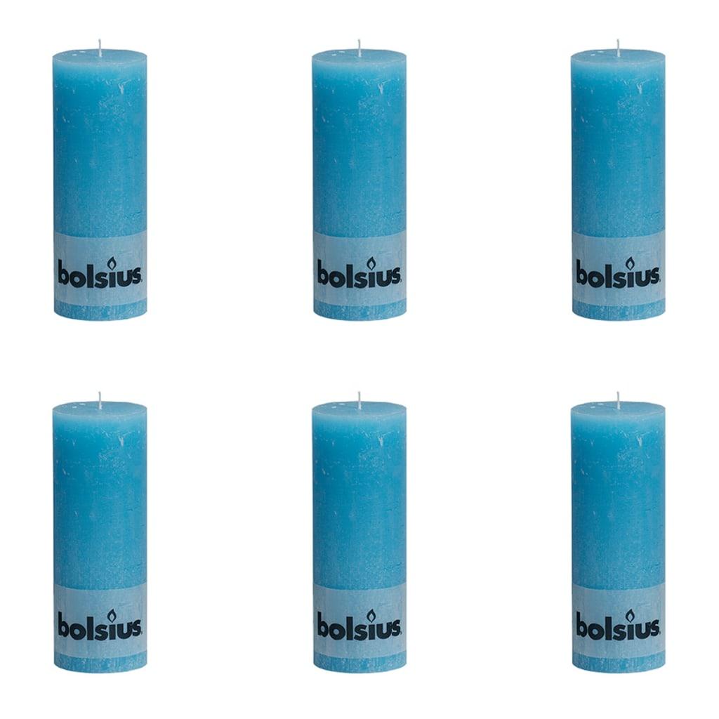 Bolsius 6 db rusztikus oszlopgyertya 190 x 68 mm kék