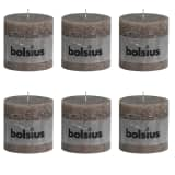Bolsius rustikalne stebričaste sveče 100 x 100 mm Taupe siva 6 kosov