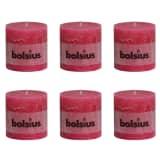 6 x Bolsius rustikalna stupna svijeća 100 x 100 mm Ružičasta