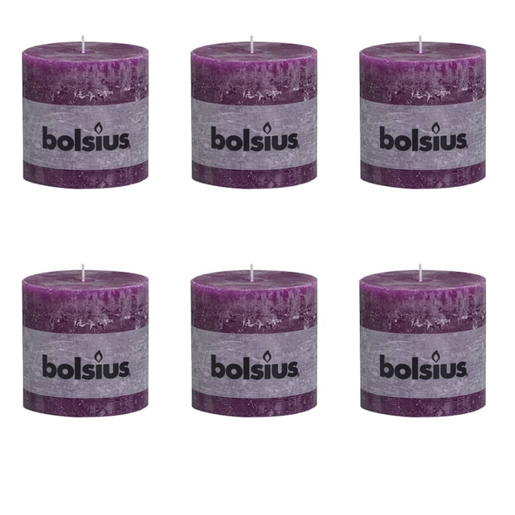 Bolsius 6 db rusztikus oszlopgyertya 100 x mm lila