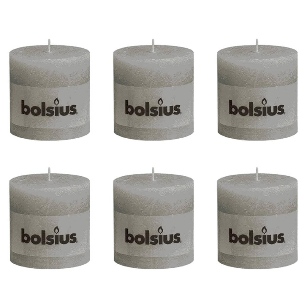 Bolsius Rustieke Stompkaarsen 100 x 100 mm 6 stuks grijs licht