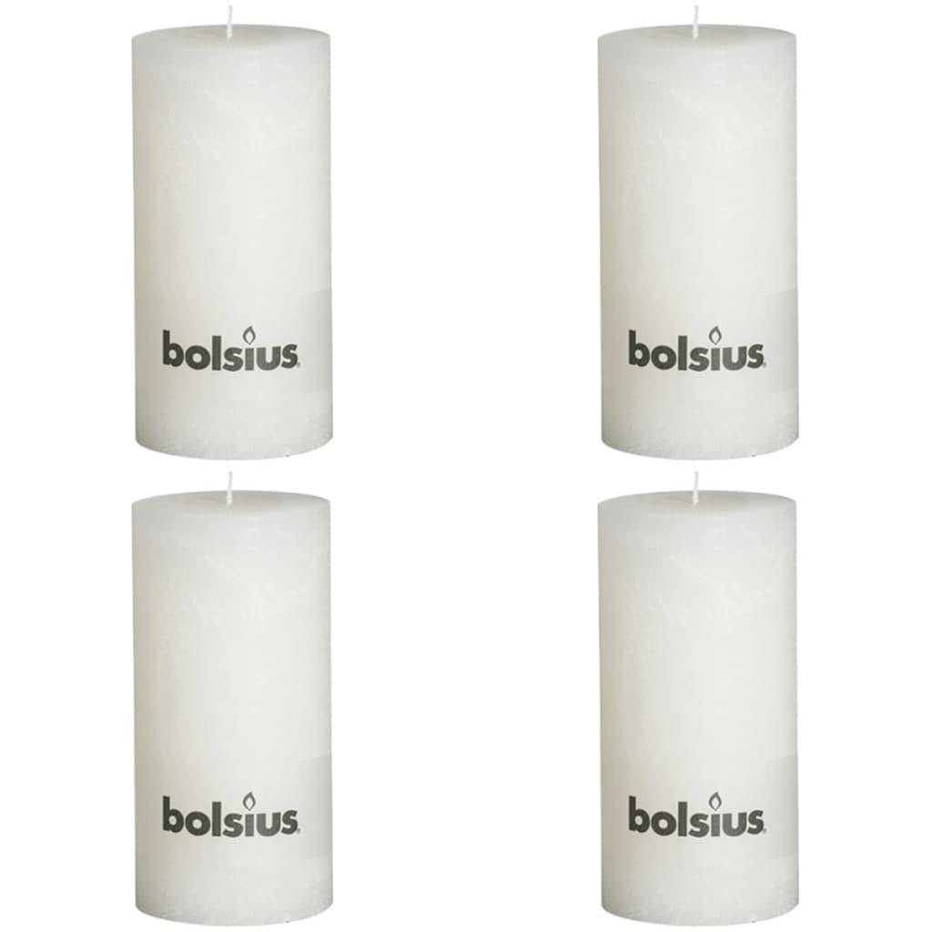 Bolsius 4 db rusztikus oszlopgyertya 200 x 100 mm fehér