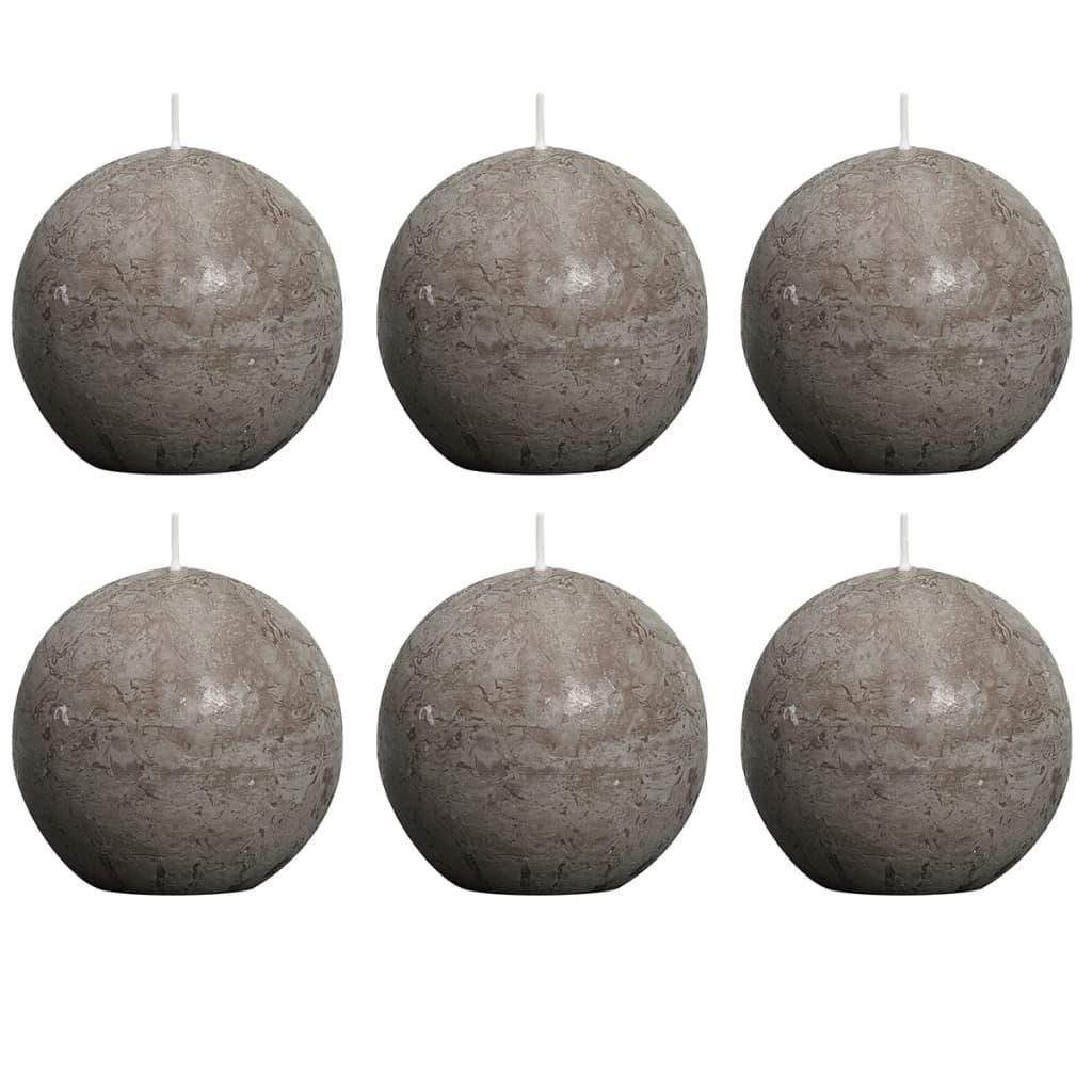 Bolsius 6 db rusztikus gömbgyertya 80 mm tópszínű