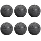 Bolsius Ball Rustic Candle Charcoal Grey 80mm 6 pcs Set