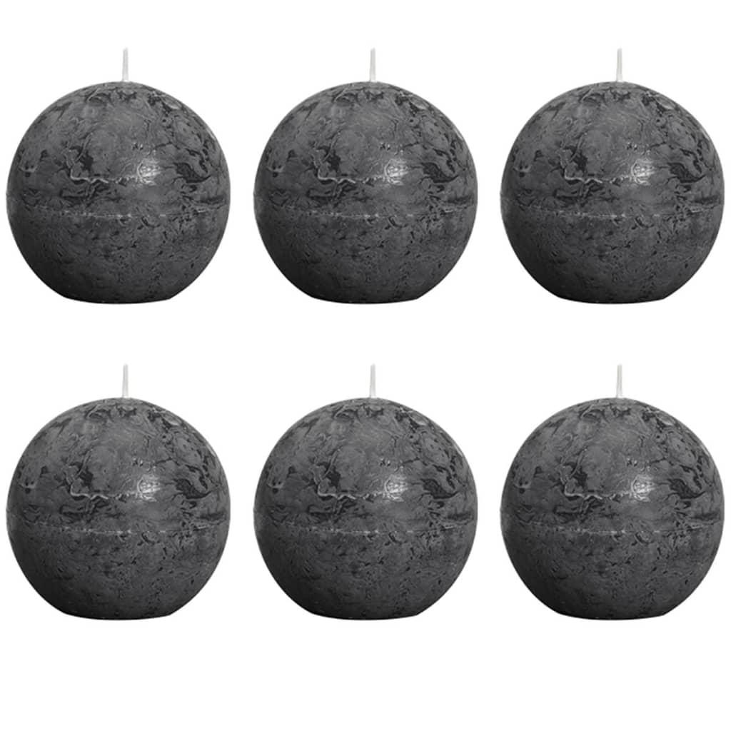 bolsius-ball-rustic-candle-charcoal-grey-80mm-6-pcs-set