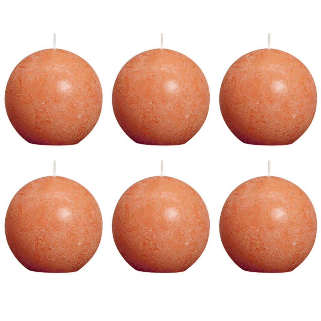 Bolsius 6 db rusztikus gömbgyertya 80 mm narancssárga