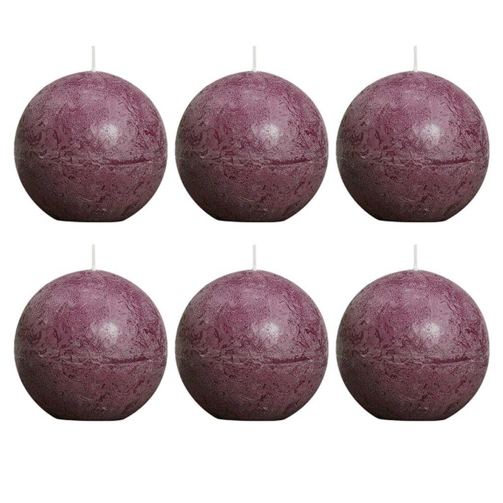 Bolsius 6 db rusztikus gömbgyertya 80 mm lila