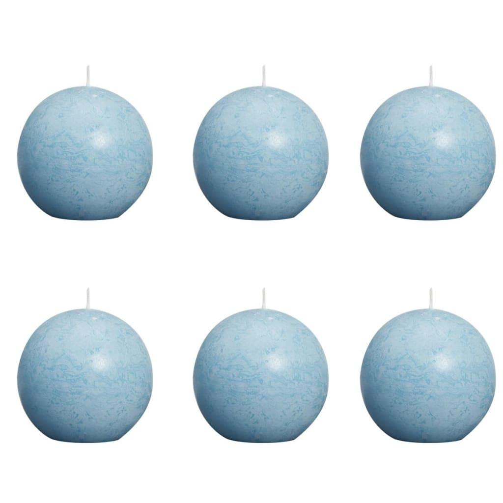 Bolsius 6 db rusztikus gömbgyertya 80 mm vízkék