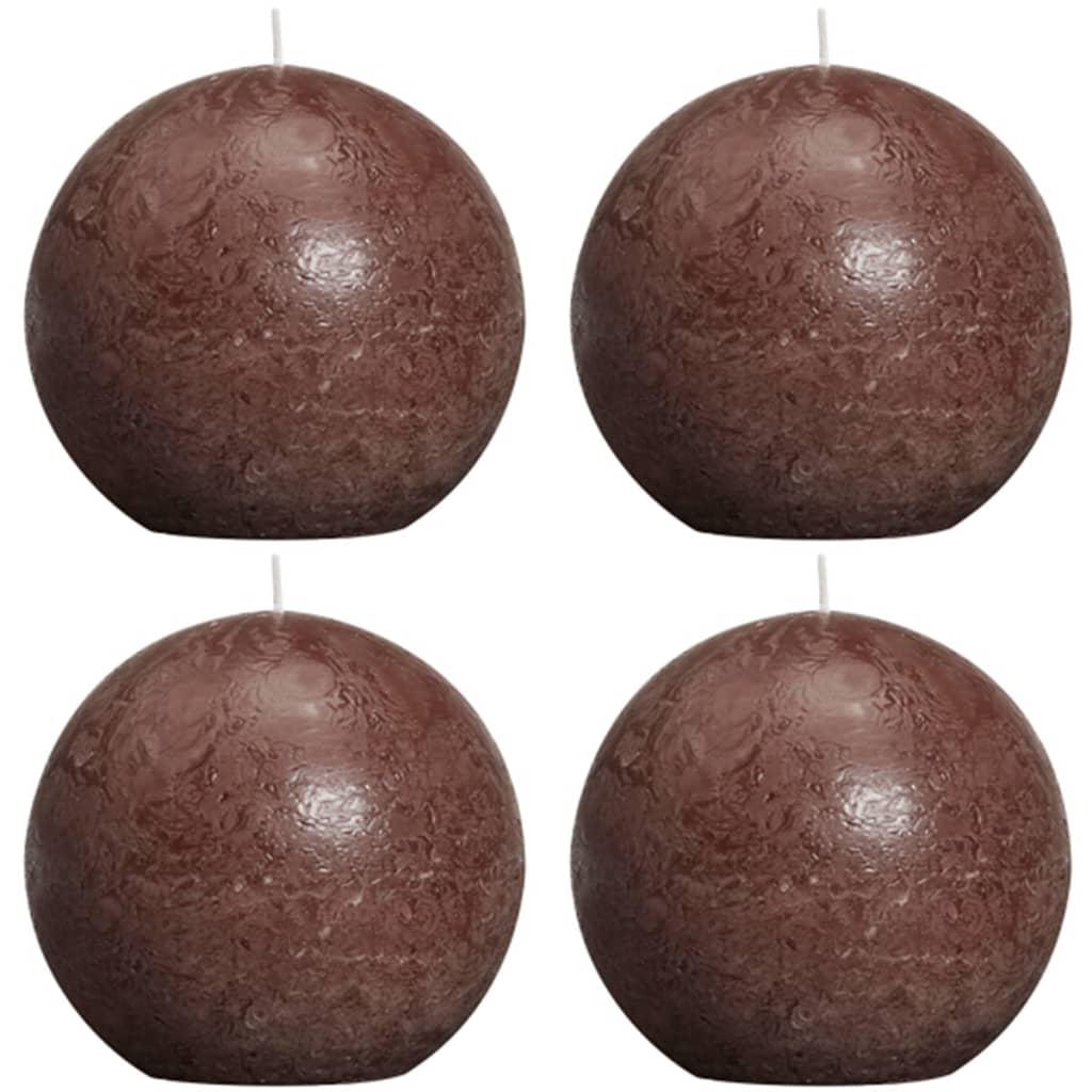bolsius-ball-rustic-candle-dark-brown-100mm-4-pcs-set