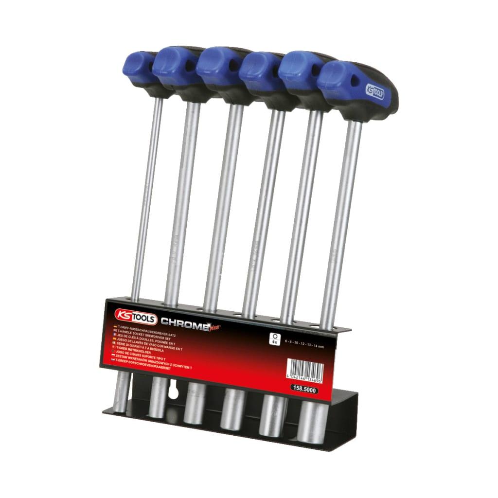 KS Tools T-handtag hylsnyckelsats 6 delar 6-14 mm
