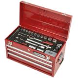 """Coffre à outils équipé, avec 3 tiroirs, 100 pièces 1/4"""" + 1/2"""" inch"""