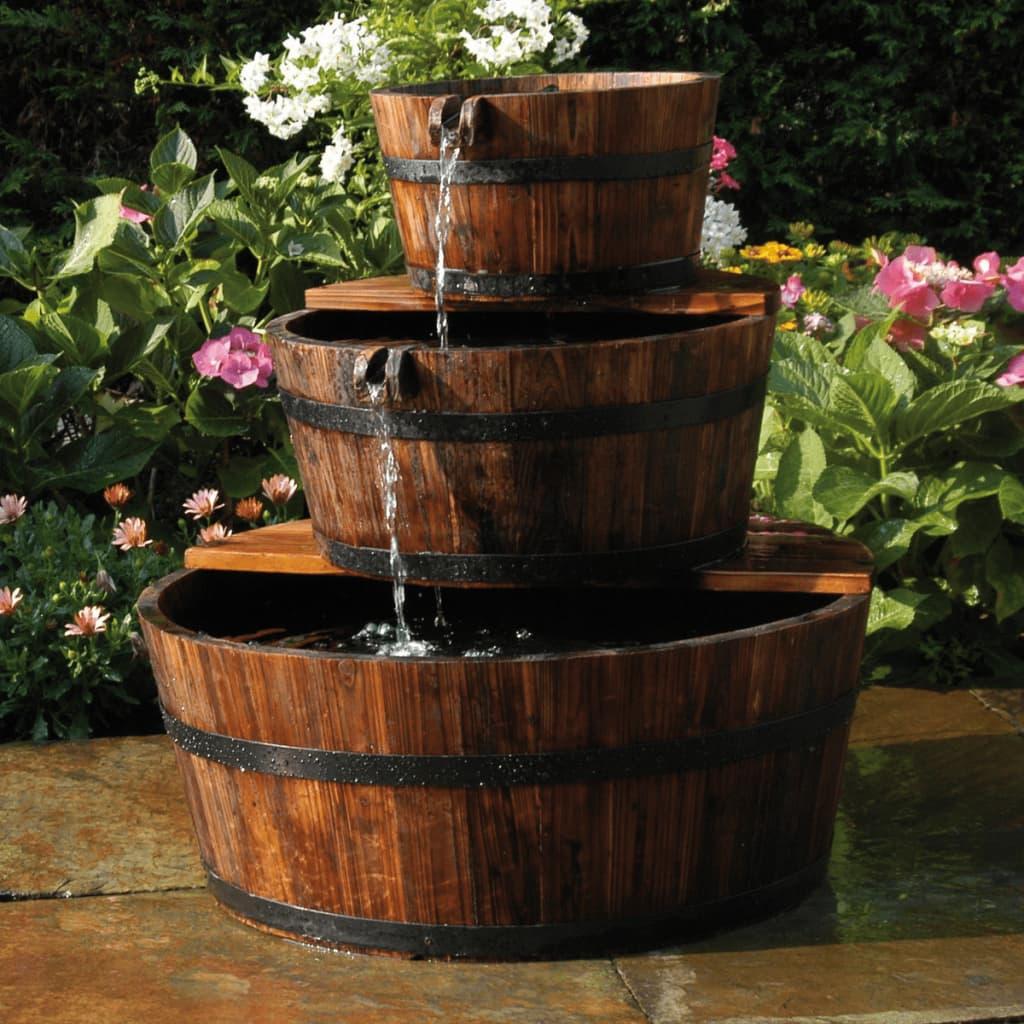 Ubbink Houten Ornament Waterval Set 3-Vaten 72cm + Pomp vijverornament