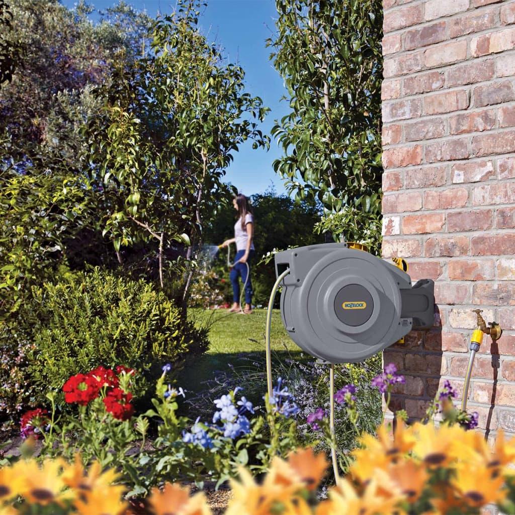 Hozelock automatisk slangupprullare med 20 m trädgårdsslang grön