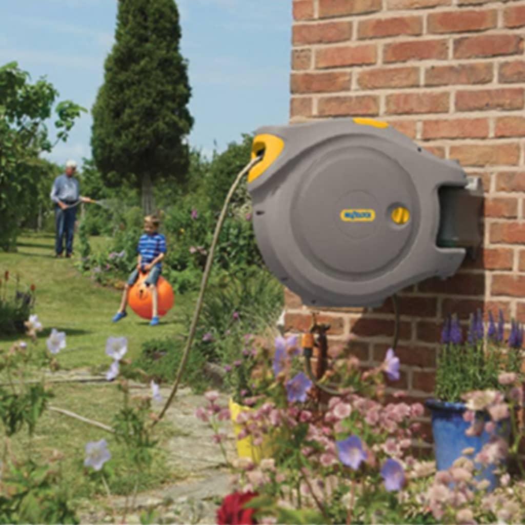 Hozelock automatisk slangupprullare med 40 m trädgårdsslang grå