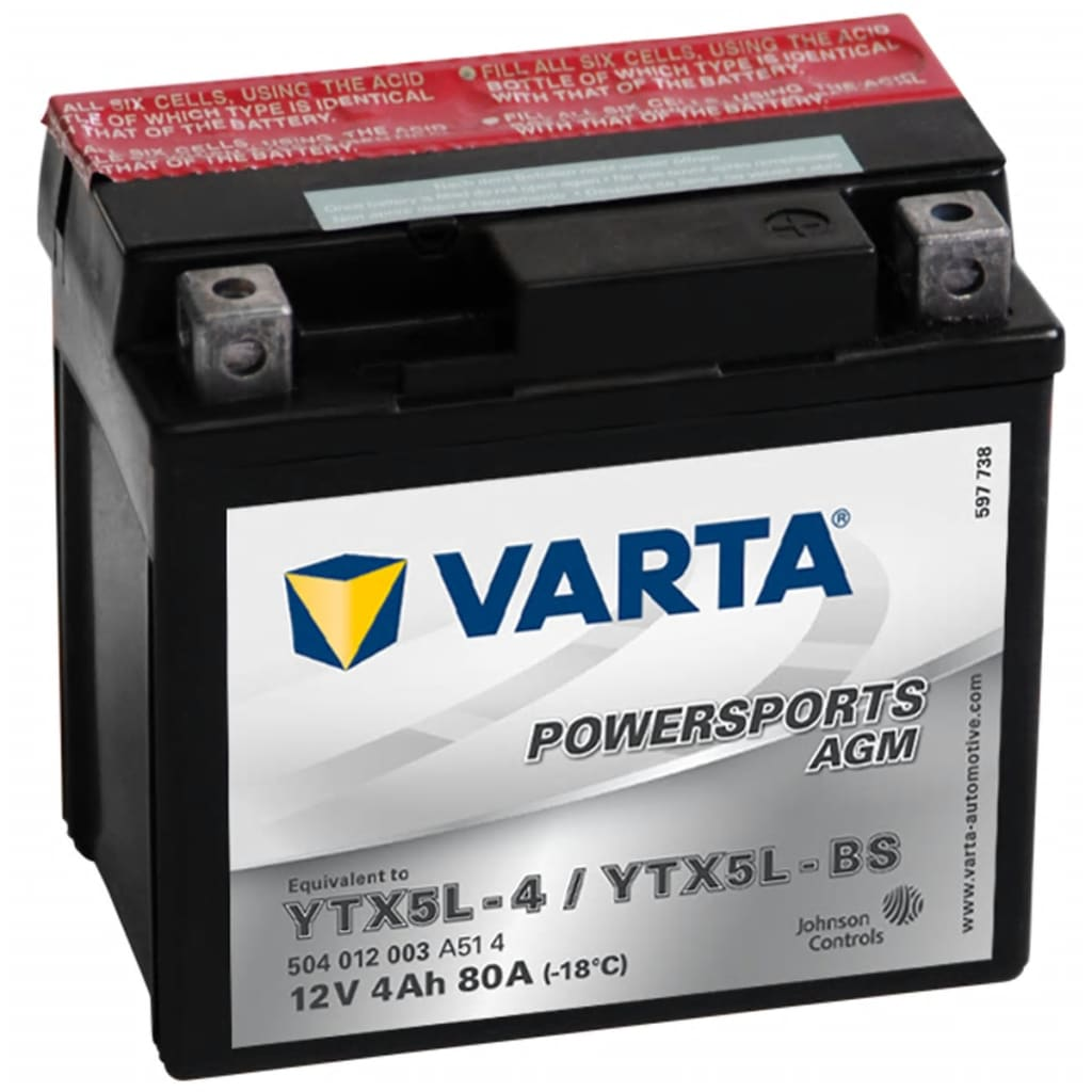 varta motorcycle battery powersports agm ytx5l 4 ytx5l. Black Bedroom Furniture Sets. Home Design Ideas