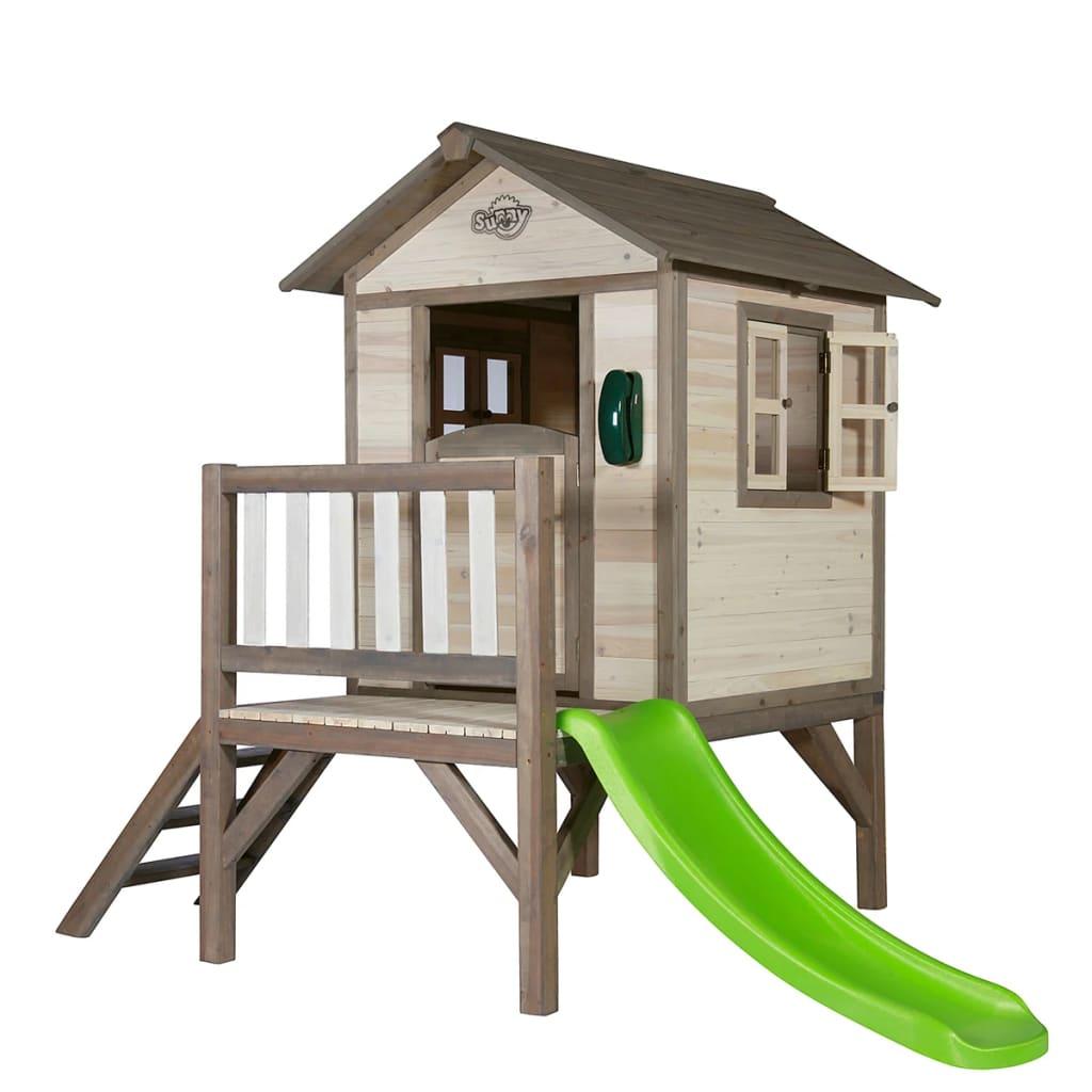 der sunny kinderspielhaus kinderh tte kinderholzhaus lodge xl mit rutsche online shop. Black Bedroom Furniture Sets. Home Design Ideas