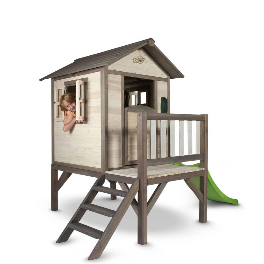 sunny kinderspielhaus kinderh tte kinderholzhaus lodge xl mit rutsche g nstig kaufen. Black Bedroom Furniture Sets. Home Design Ideas