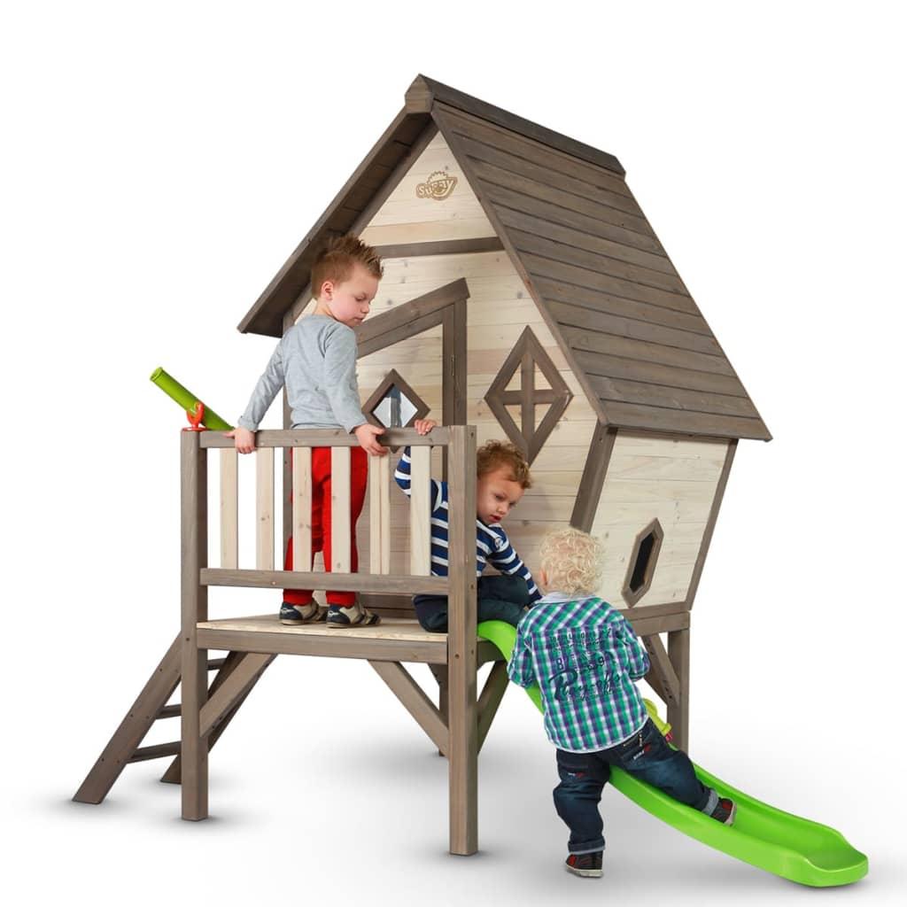 Sunny Casa Casetta per Bambini in Legno XL con Scivolo Gioco Da Esterno Giardino