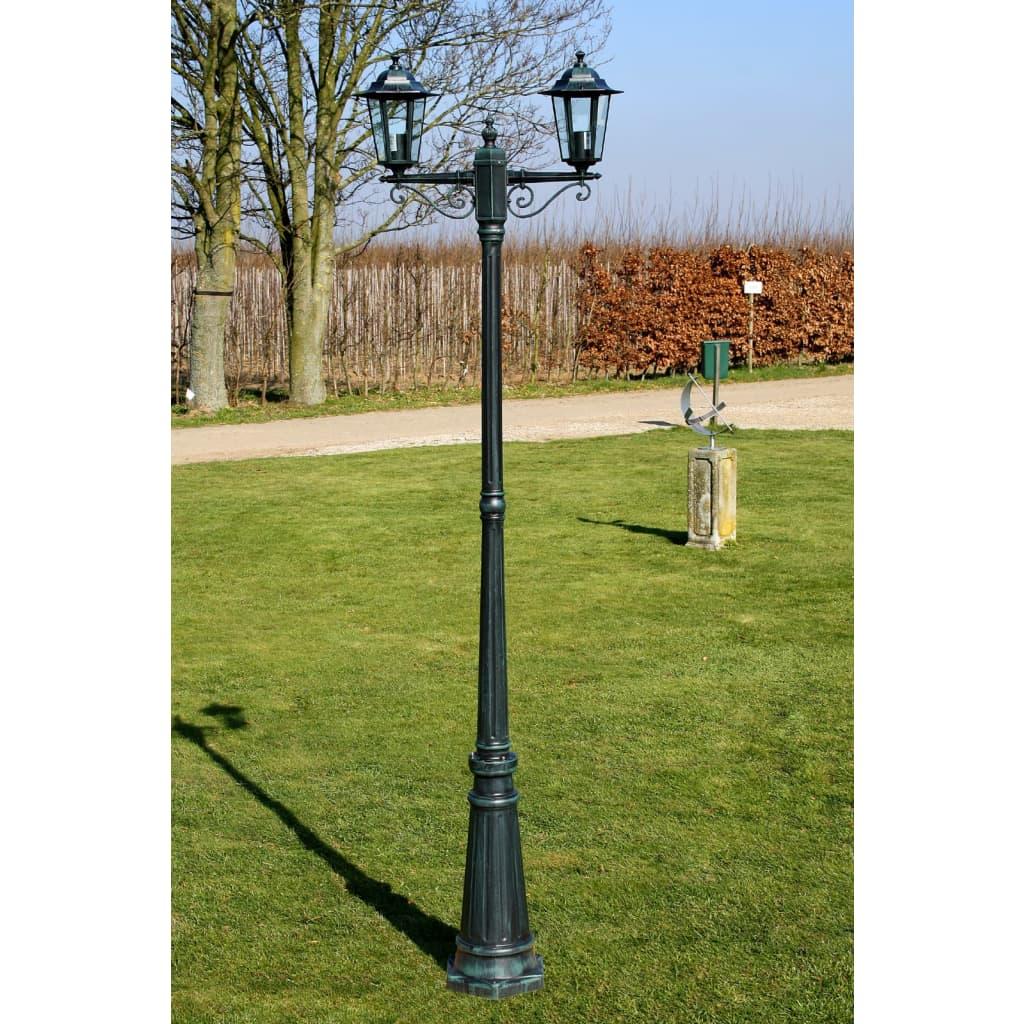 Acheter lampadaire ext rieur double hauteur 215 cm vert for Lampadaire exterieur led pas cher