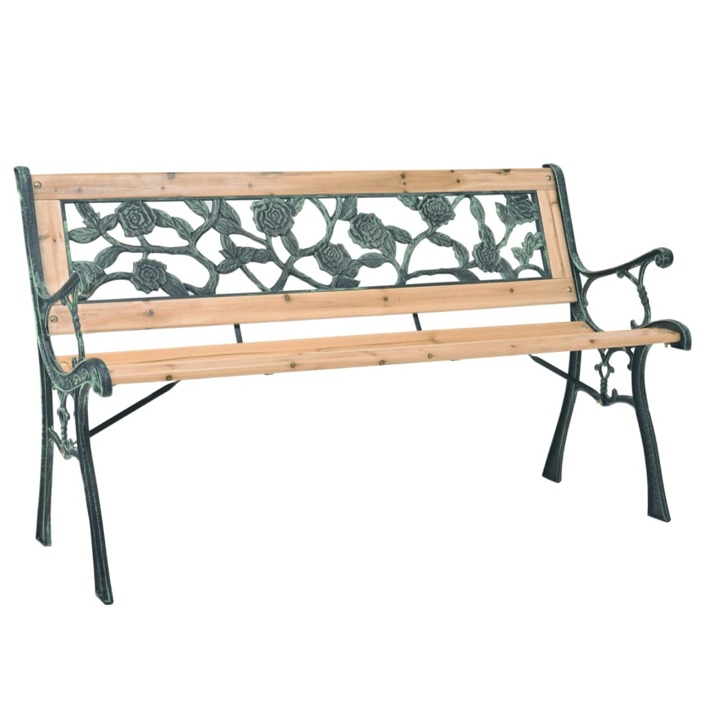 vida-xl-garden-bench-with-rose-patterned-backrest