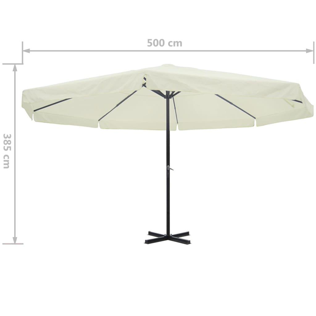 vidaxl parasol white aluminium 500 cm. Black Bedroom Furniture Sets. Home Design Ideas