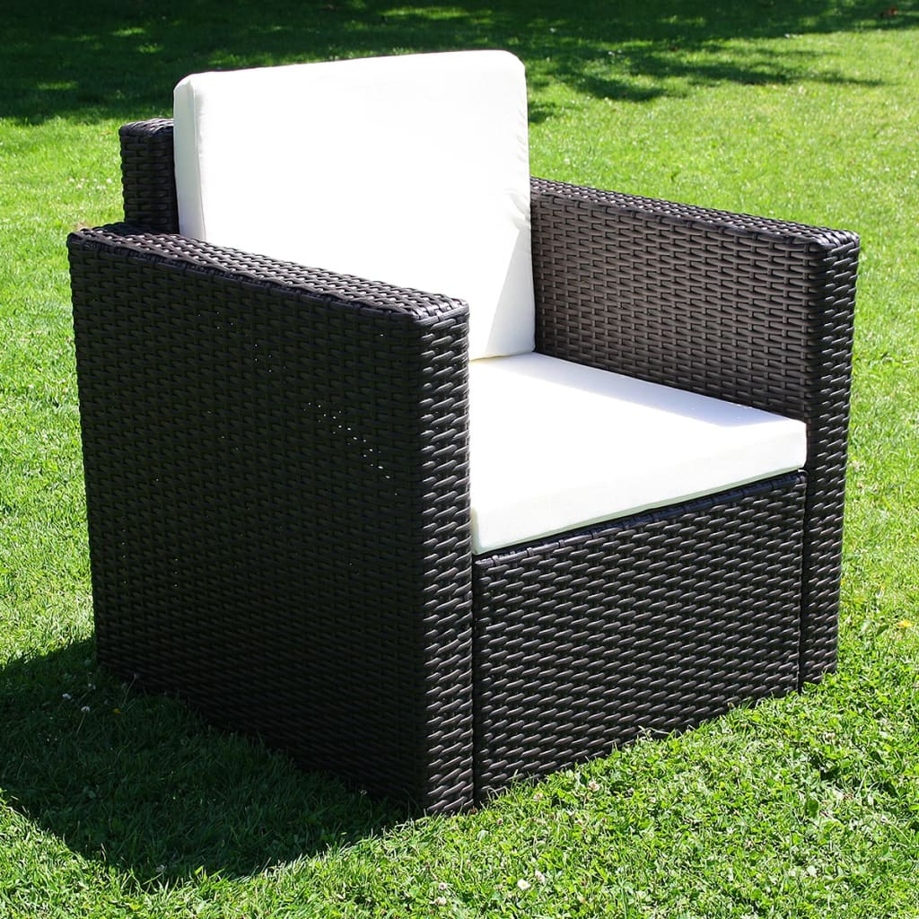 vidaxl lounge gartenm bel set aus braunem poly rattan inkl kissen. Black Bedroom Furniture Sets. Home Design Ideas