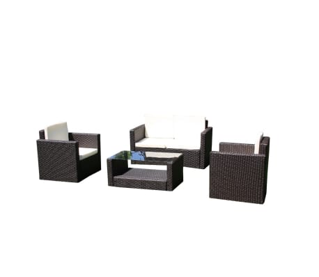 vidaxl salon de jardin droit lounge chocolat en r sine tress e. Black Bedroom Furniture Sets. Home Design Ideas