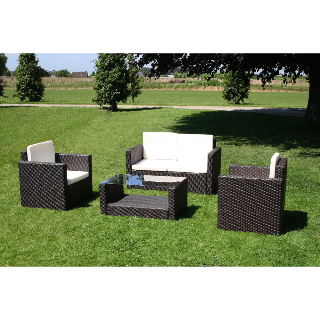der vidaxl lounge gartenm bel set aus braunem poly rattan inkl kissen online shop. Black Bedroom Furniture Sets. Home Design Ideas