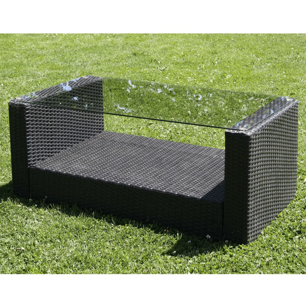 vidaxl lounge gartenm bel set aus schwarzem poly rattan. Black Bedroom Furniture Sets. Home Design Ideas