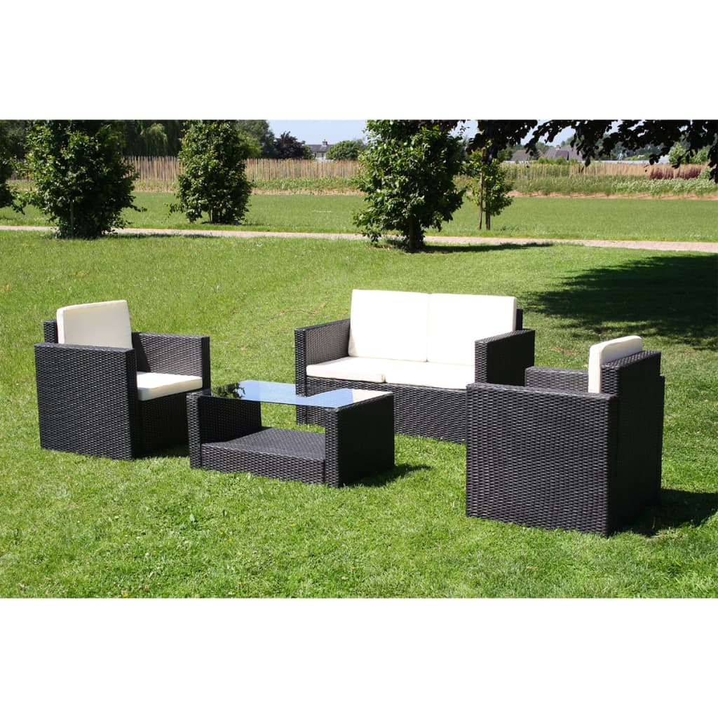 la boutique en ligne salon de jardin droit lounge noir en r sine tress e. Black Bedroom Furniture Sets. Home Design Ideas