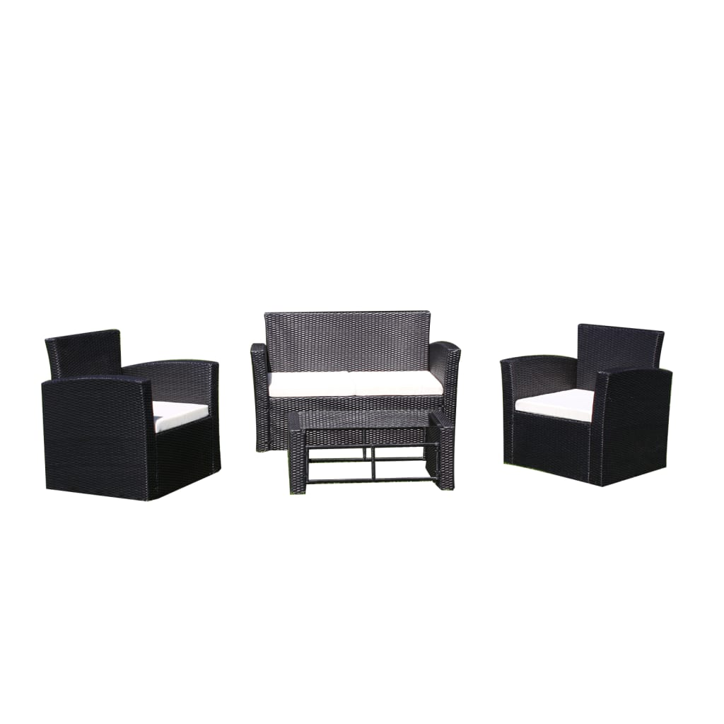 der vidaxl poly rattan gartenm bel lounge set schwarz. Black Bedroom Furniture Sets. Home Design Ideas