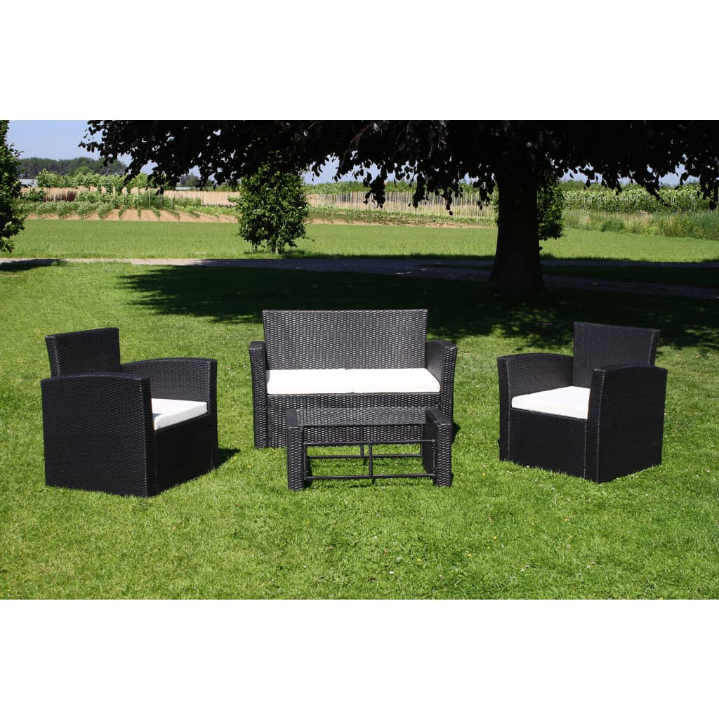 vidaxl poly rattan gartenm bel lounge set schwarz. Black Bedroom Furniture Sets. Home Design Ideas