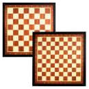 Jeu de dames et d'échecs Abbey avec bordure marron