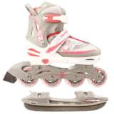 Nijdam patins para gelo 39-42 branco/prateado/rosa 52SZ