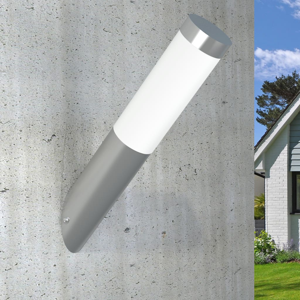 vidaXL-Lampara-de-Pared-de-Jardin-Acero-Inoxidable-y-Plastico-Aplique-de-Patio miniatura 3