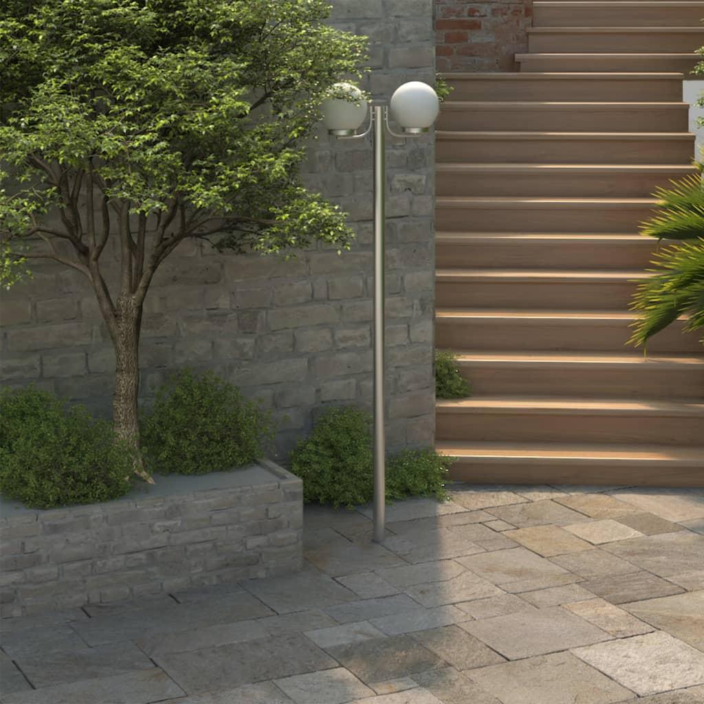 vidaXL-Lampara-de-jardin-con-poste-2-lamparas-de-220cm-Iluminacion-Luz-Bombilla