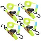Lot de 4 Courroie d'attache avec cliquet + 2 crochets ProPlus 5 m