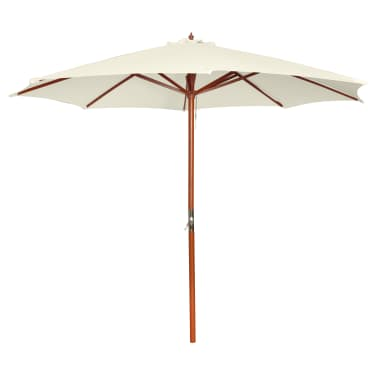 acheter parasol sur pied toile blanche bois 258 cm pas cher. Black Bedroom Furniture Sets. Home Design Ideas