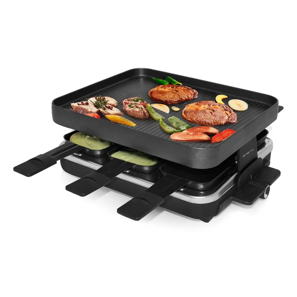 la boutique en ligne appareil raclette avec gril 1 200 w emerio rg 103147. Black Bedroom Furniture Sets. Home Design Ideas