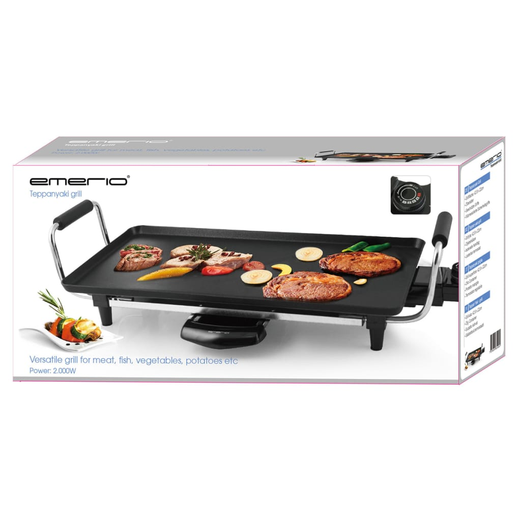emerio teppanyaki grill 2000 w black tg 104102. Black Bedroom Furniture Sets. Home Design Ideas