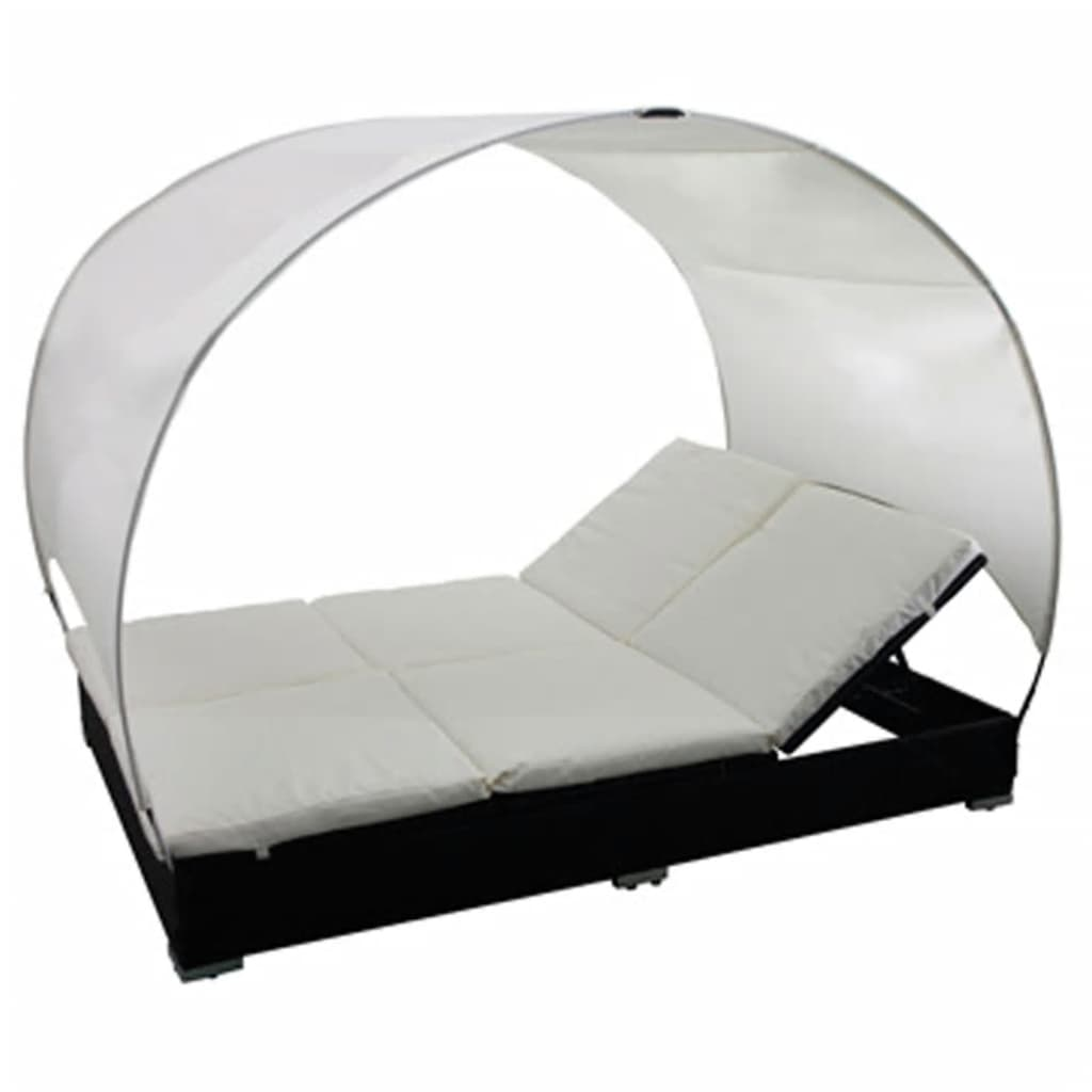 Rattan lounge  Double Rattan Lounge Bed Black with Umbrella | vidaXL.com
