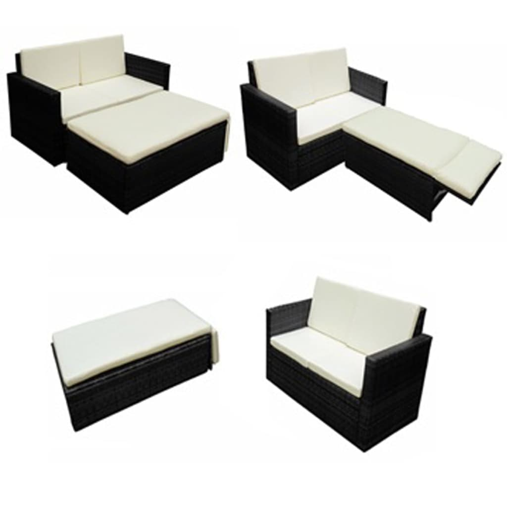 der vidaxl poly rattan m bel schwarz variabel online shop. Black Bedroom Furniture Sets. Home Design Ideas